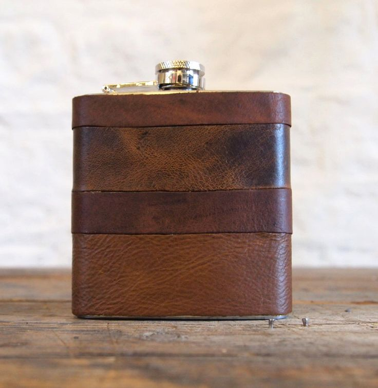 Initialled Leather Hip flasks - Recycled Leather Strips, Hand Engraved, Best Man, cowboy leather. £30.00, via Etsy.