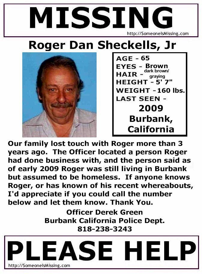Roger Dan Sheckells, JR Missing Since 2009 Burbank, California - missing person template