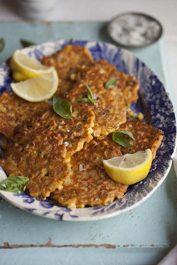 Corn Fritters With Basil Chilli And Lemon