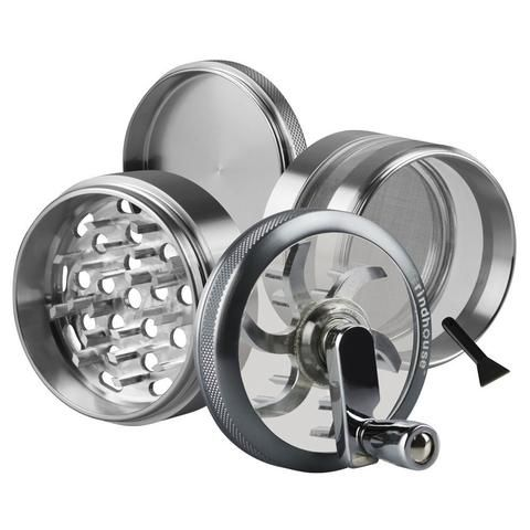 Grindhouse™ 4pc Aluminum Grinder With Crank - Various Colours