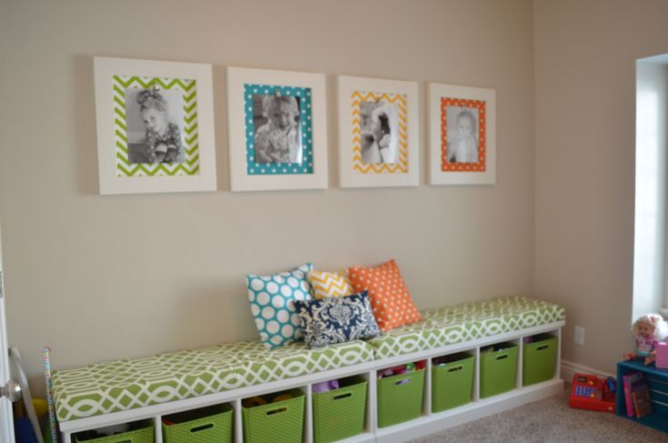Playroom Storage | Playroom Benches with boxes and baskets for toy storage