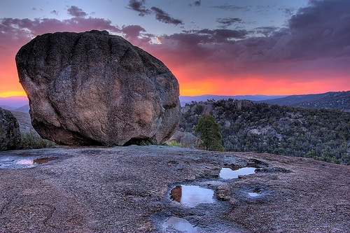 Sunset on a slippery Granite rock mountain, Girraween National Park, Australia