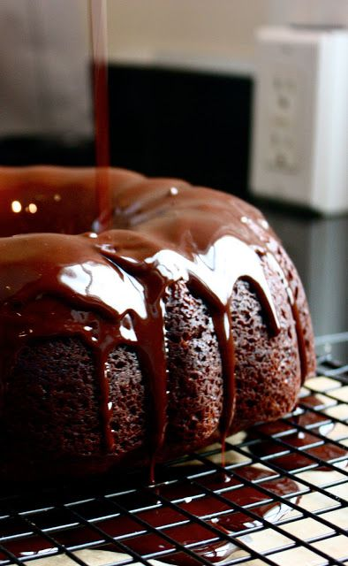Too much chocolate cake. Reasons Bundt cakes rock: They're super moist. It's redonklulous how easy they are (just bake and pour the glaze on). They don't need fancy frosting techniques, the pan does all of the decorating, making the end result look sophisticated and elegant effortlessly! Bundt cakes keep really well, and actually get better with age. Bundt cakes aren't dangerous..