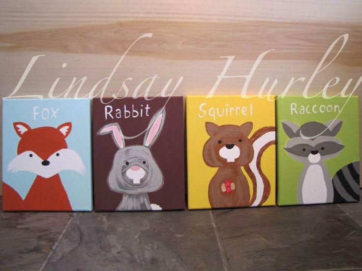 nursery,baby,baby room,fox,rabbit,squirrel,raccoon,canvas Canvas Art By Lindsay Hurley www.earthseadesigns.webs.com/ www.facebook.com/earthseadesigns