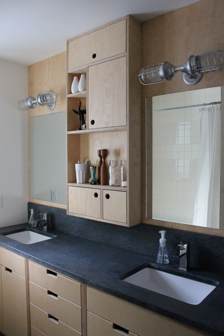 Solid plywood kitchen cabinets - The Little Forest House Bathroom Cabinets