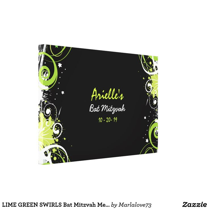 LIME GREEN SWIRLS Bat Mitzvah Memory Sign-In Board Canvas Print