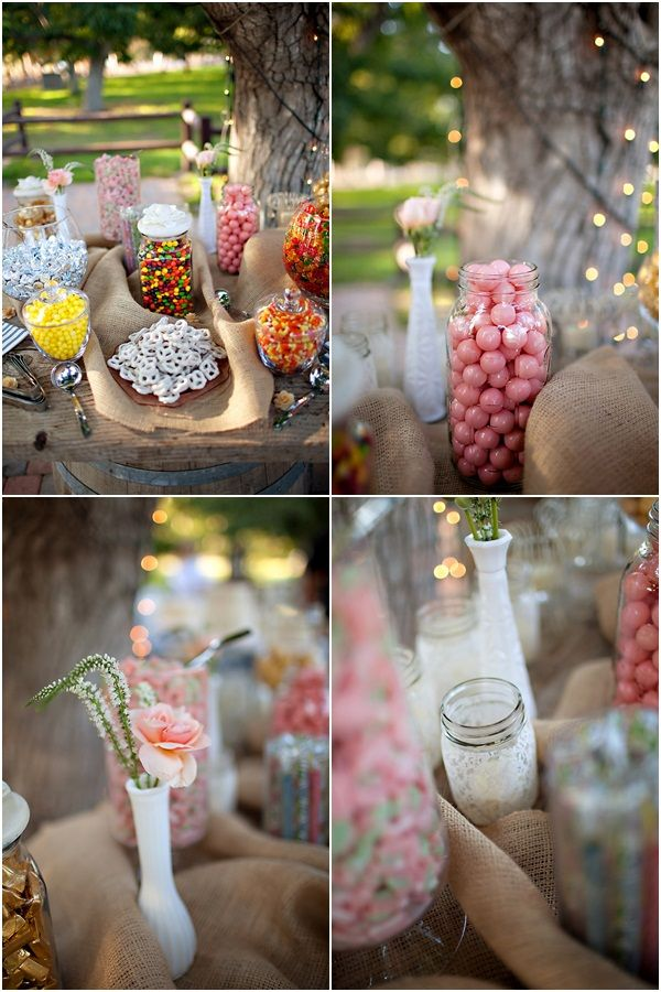 pinner says: CANDY BAR! I would 100% dedicate myself to this project. I catered a wedding where they did this and they had mini burlap sacks with the couples names (or initials?) and a little bird printed on them and guests filled them up as flavors. Super adorable and cheap!