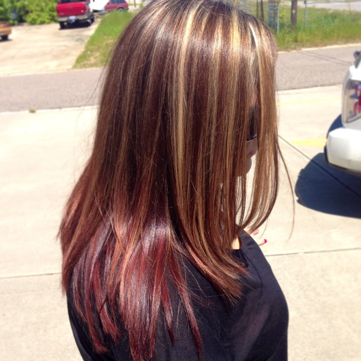 Chunky Blonde Highlights With Red At The Bottom