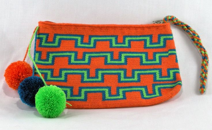 Hand-Woven Artesinal Colombian Wayuu Clutch Bag (Orange/Soy Green/Cobalt Blue) - Bacano Bags and Hats
