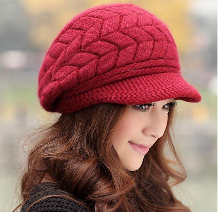 Phụ nữ thanh lịch Hat Winter & beanies mùa thu dệt kim Mũ Đối Woman Rabbit Fur Cap mùa thu và mùa đông phụ nữ thời trang nữ Skullies