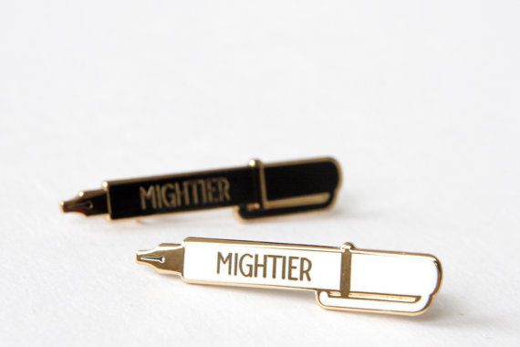 PRE ORDER!! New Colours :) Pen Enamel Pin Badge, Mighty Pen, Pen is Mightier than the Sword, Charity Red Cross Pin, RockCakes