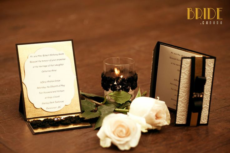 Gatsby-inspired wedding stationary designed by Diane Bowman of KME Vancouver, BC