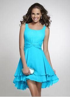 A-Line/Princess Square Neckline Asymmetrical Chiffon Bridesmaid Dress With Ruffle Cascading Ruffles