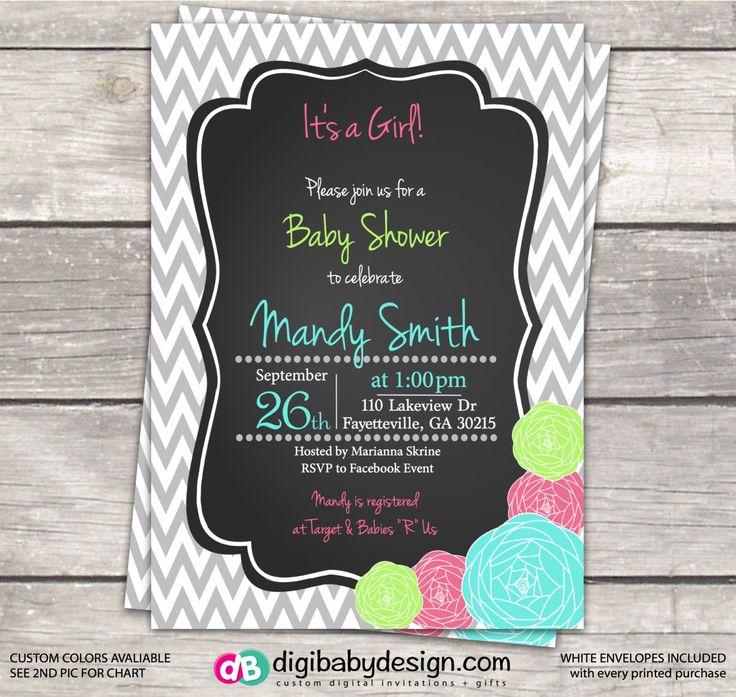 inspirational baby shower invitation wording%0A Girl Baby Chalkboard Shower invitation  gray chevron aqua  lime and pink  peony roses  custom designed digital files