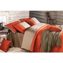 Lenjerie de pat de lux din bumbac satinat Issimo Annette oranj 2 persoane