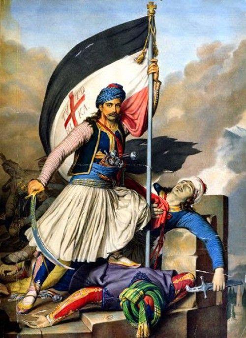 Louis Dupre: Ο Νικολάκης Μητρόπουλος υψώνει την ελληνική σημαία στο φρούριο των Σαλώνων