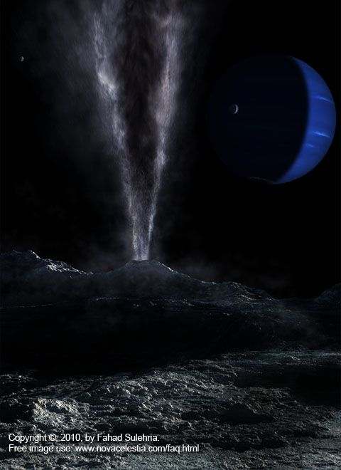 Space Art: Triton, Moon of Neptune.