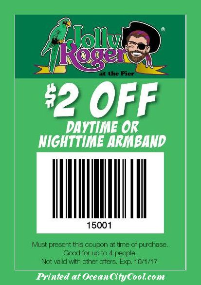 #CoolCoupons - Jolly Roger Amusement Parks $2 OFF Daytime or Nighttime Armband...  #oceancitycool