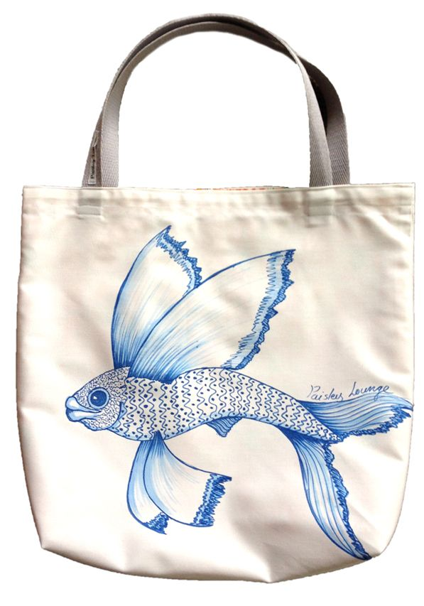 Flying fish tote. Hand painted, fully lined with webbing handles