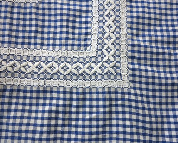 Vintage handmade blue and white cotton gingham tablecloth, 6 placemats, 6…