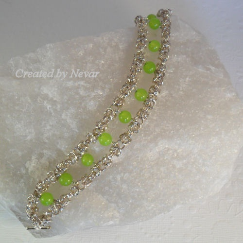 Chain Mail & Peridot Bracelet, Byzantine Weave Chain Maille, Mother's Day Gift. £30.00