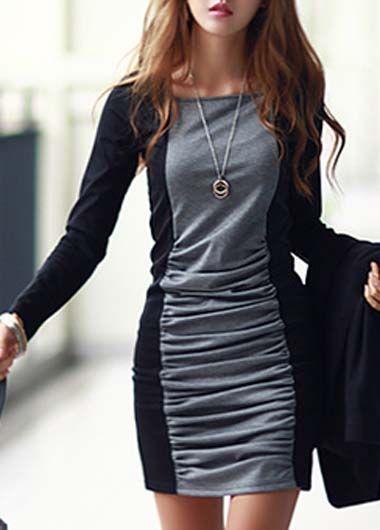 Gray & Black Chic || Square Collar Sheath Dress