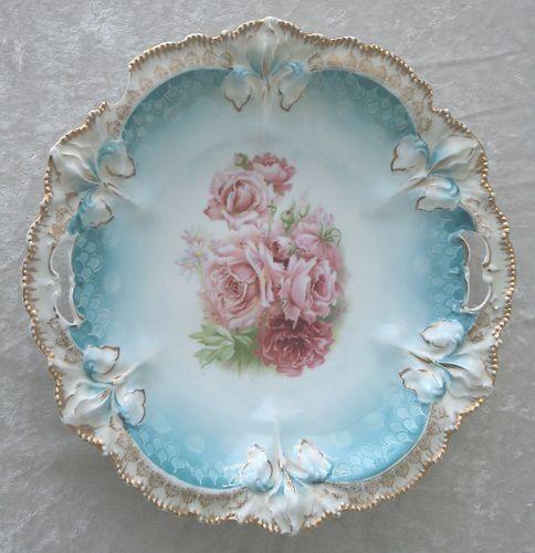 Antique RS Prussia Floral Roses Porcelain Round Handle Serving Bowl Dish.