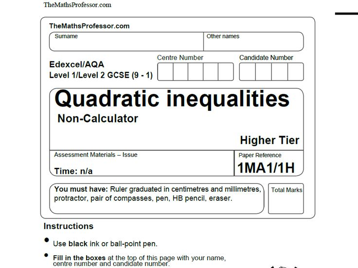 1-9 GCSE EXAM PAPER ON QUADRATIC INEQUALITIES - www.TheMathsProfessor.com