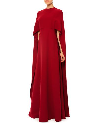 B339L Valentino Jewel-Neck Half-Sleeve Capelet Gown, Red