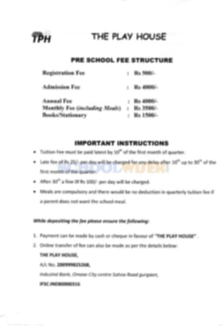 The Play House (TPH) Gurgaon fee of Preschool. Check out the latest fee structure of The Play House Sector 49 Gurgaon at SchoolWiser.