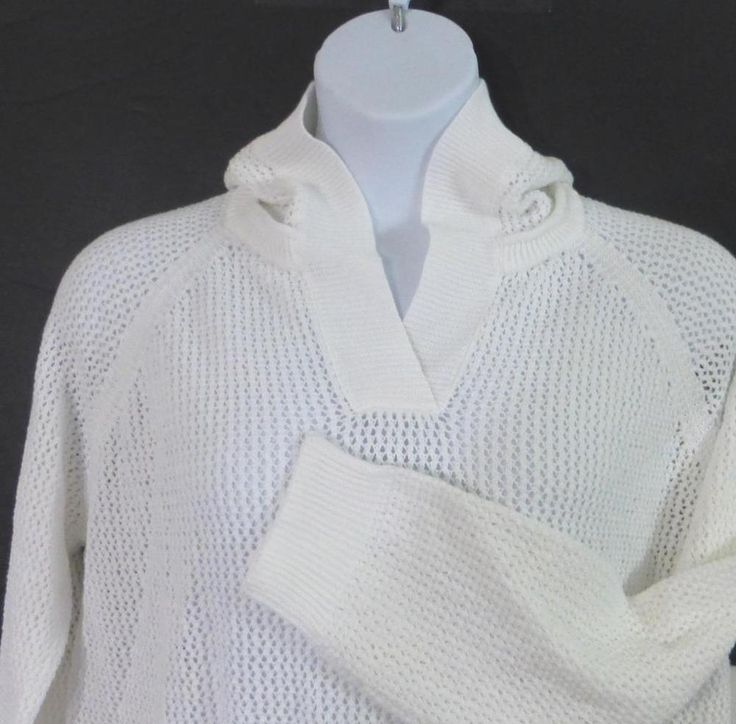 Hooded Pullover Sweater White Cream XXL Women Pouch Pocket Open Weave NEW #Shirt469 #pullover