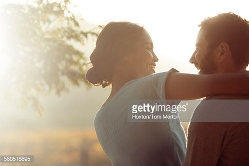 Stock Photo : Couple hugging outdoors