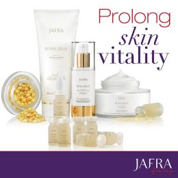 Prolong skin vitality with JAFRAs legendary skin care, Royal Jelly. #JAFRA #RoyalJelly #MiracleInABottle http://www.myjafra.com/lalley