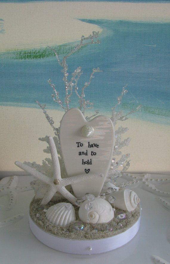 White Seashell Beach Wedding Cake Topper Starfish White