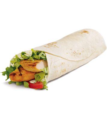 Grilled chicken wrap w/o ranch add mustard, bbq, or buffalo sauce