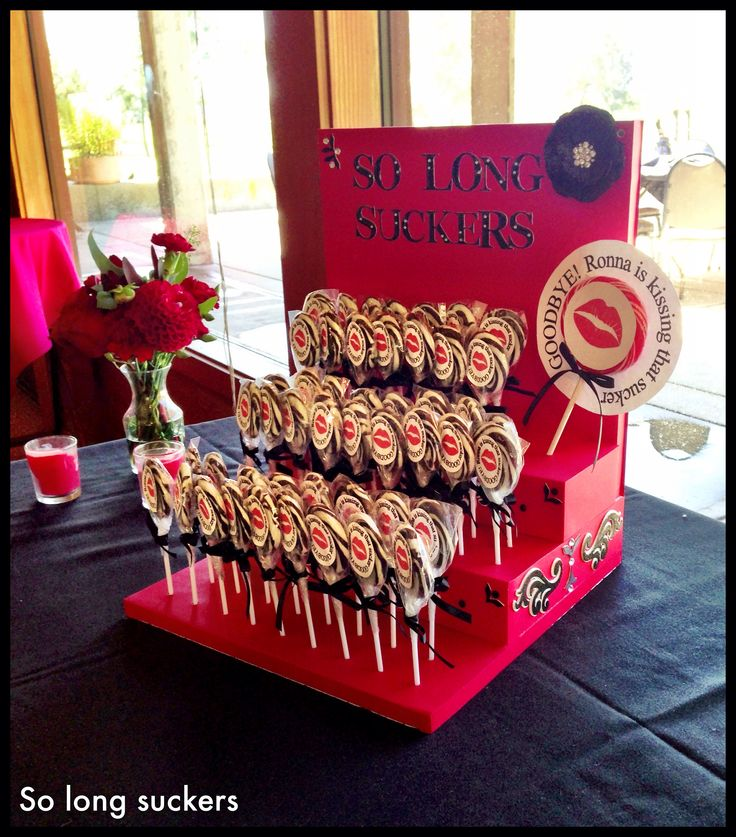 """So Long Sucker"" lollipop favors for a divorce party. She kissed that sucker goodbye!"