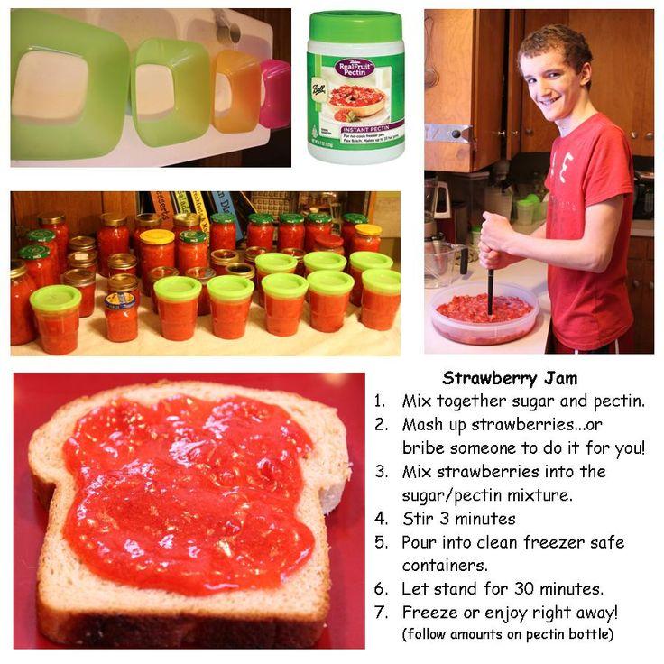 Making Strawberry Jam (Freezer)