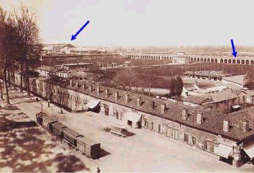 Il lungo viadotto della linea di Venezia che tagliava il recinto del Lazzaretto