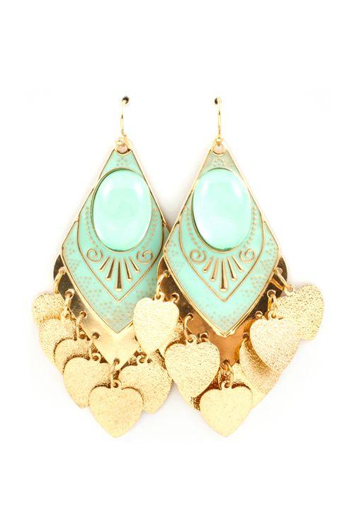 Mint Spade Chandelier Earrings