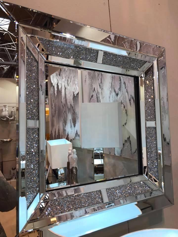Sparkle Diamond Wall Mirror Mirrored, Home Sparkle Furniture