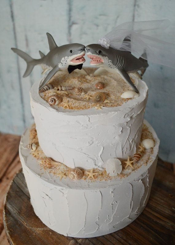 Wedding cake topper great white shark lover ocean beach themed destination wedding Hawaii salt water fishing bride and groom fishing shark