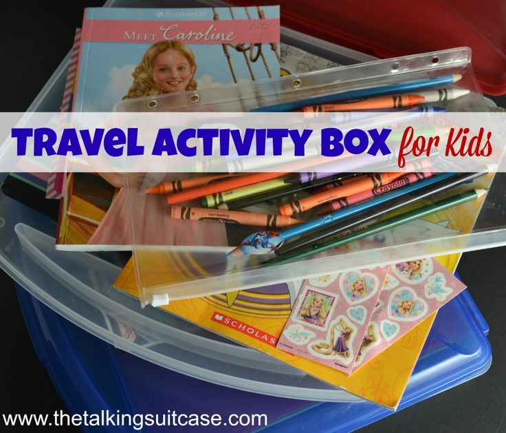 See how easy it is to make a Travel Activity Box for kids.  We pack one of these boxes during each of our travels.  It keeps the kids entertained and everything is contained all in one place.