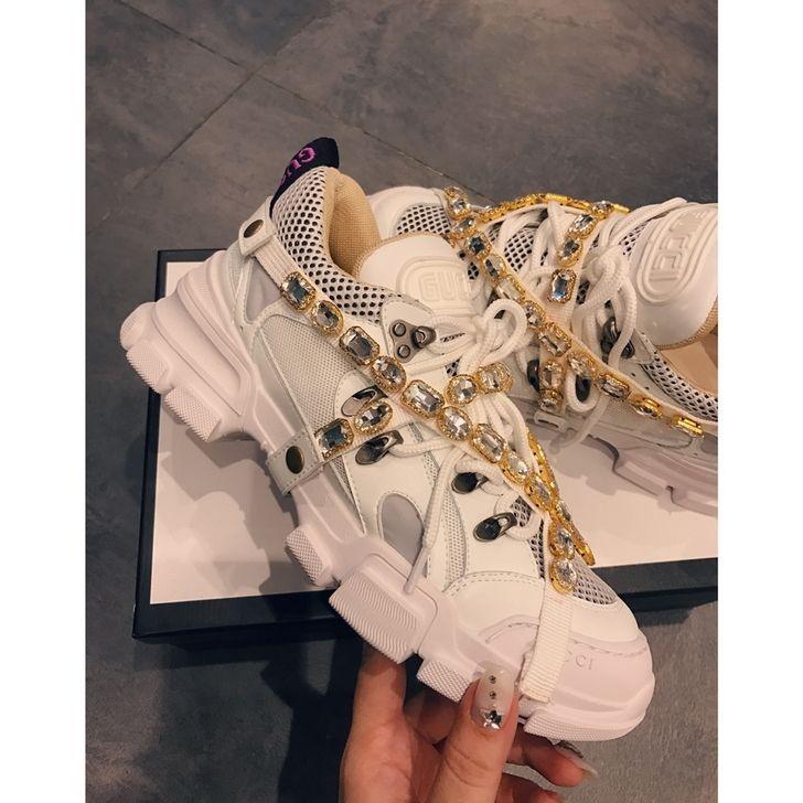 70a12dd9761 69 Gucci SEGA Crystal Chunky Sneakers White