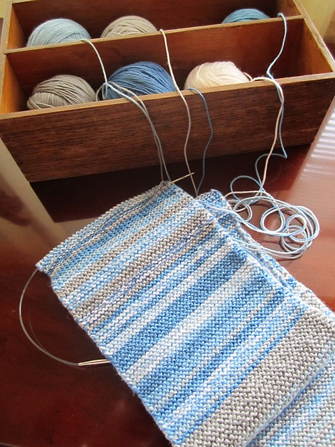 Sky Scarf 2013; knit a row every day to record the weather for a year.