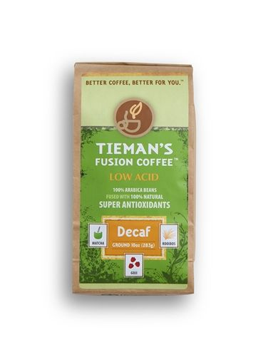 Tieman's Fusion Decaf is a Semi-Dark roast, the depth and richness is surprising to many people.  Our Decaf coffee utilizes a natural water decaffeination process. 100% select Arabica coffee naturally fused with Matcha Green Tea, Rooibos Red Tea and Goji