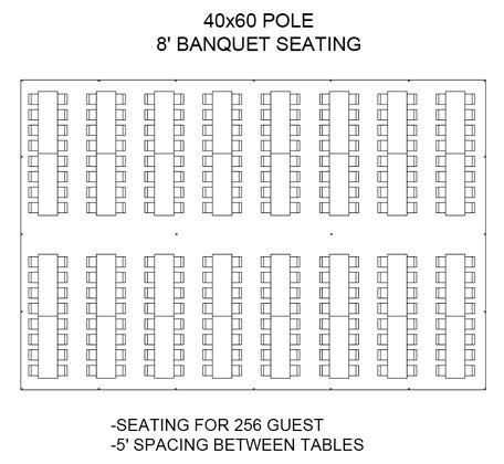 40x60 Pole 8' Banquet Seating