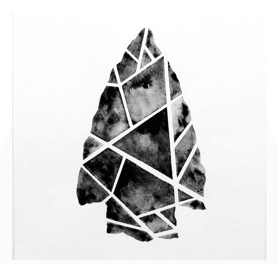 Want a print? Other colors or dimensions? Convo me! <3 Geometric Tribal Arrowhead Original Watercolor Painting / 6 x 6