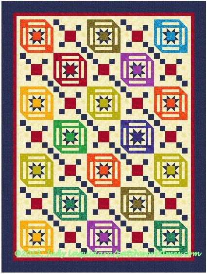 JanQOV2 - LOVE the 3 d of the squares: Patchwork Pattern, Interesting Pattern, A Frame, Free Patterns, Crafts Sewing Quilts, Amazing Patterns, Bright Colors, Janqov2, Quilt Pattern