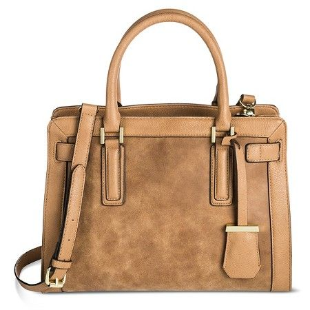 Women's Faux Leather Med Belted Tote with faux suede detail - Merona™ : Target