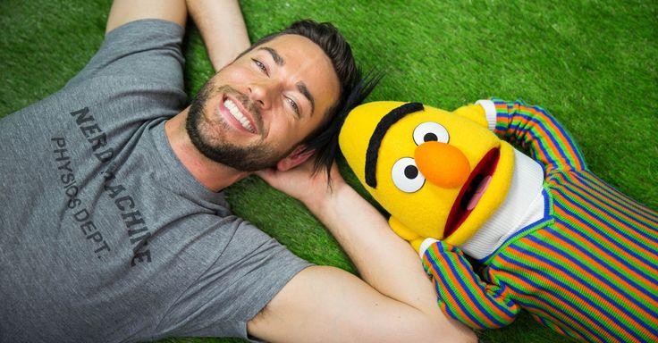 Zachary Levi and Burt (or is it Bert?) from Sesame Street